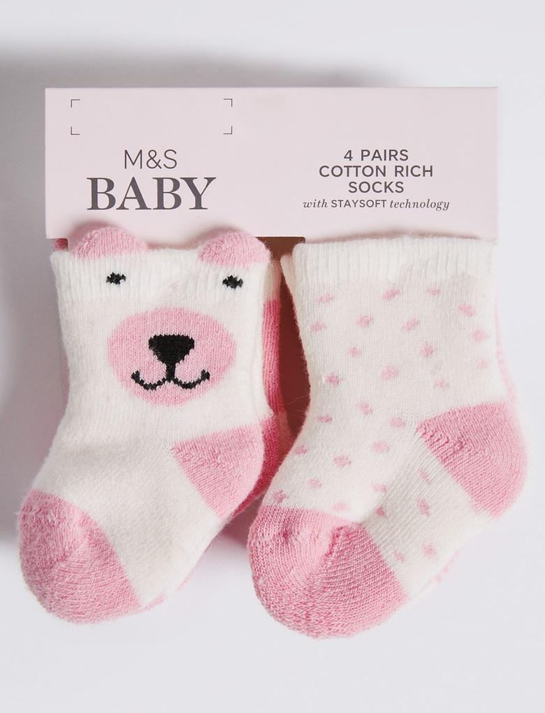 4'lü Pamuklu Çorap (0 - 24 Ay)