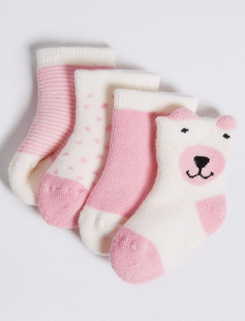 4'lü Pamuklu Bebek Çorap Seti (0 - 24 Ay)