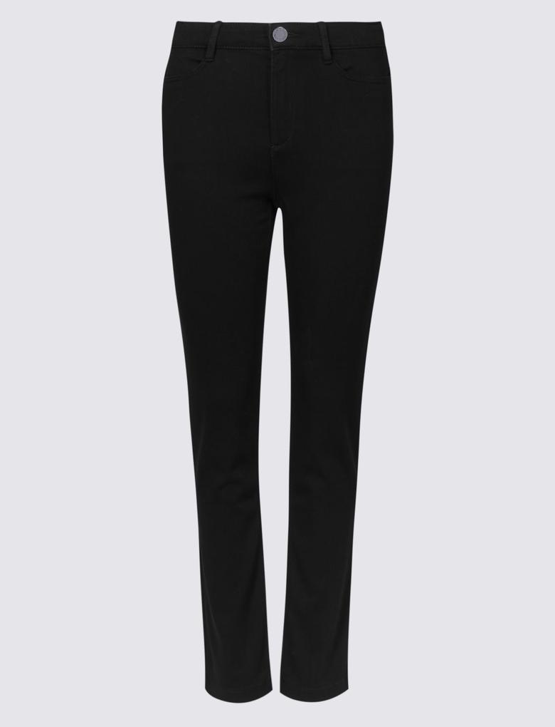 Siyah Roma Rise Slim Leg Jean Pantolon