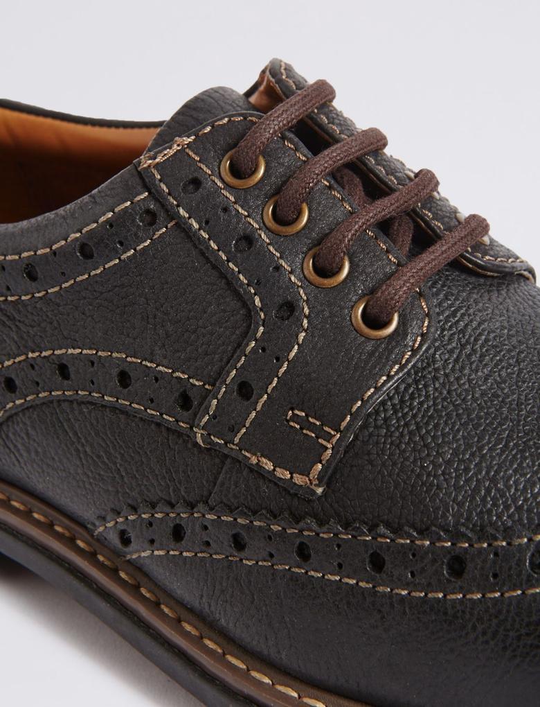 Kahverengi Bağcıklı Deri Ayakkabı
