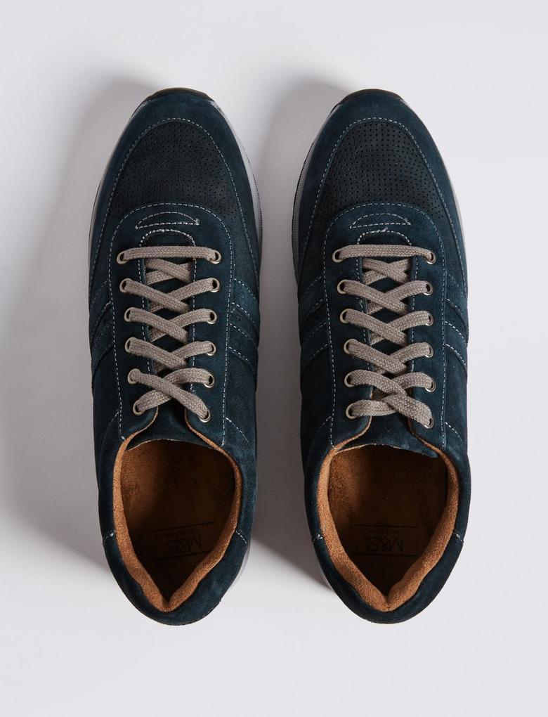 Lacivert Bağcıklı Süet Spor Ayakkabı