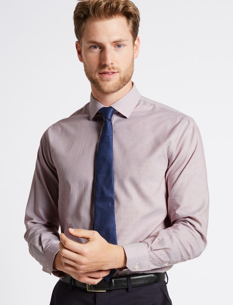Kırmızı Saf Pamuklu Kolay Ütülenebilir Tailored Fit Gömlek