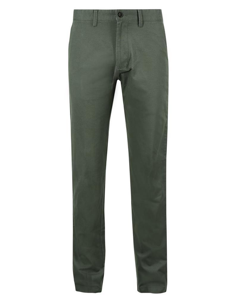 Yeşil Saf Pamuklu Slim Fit Chino Pantolon