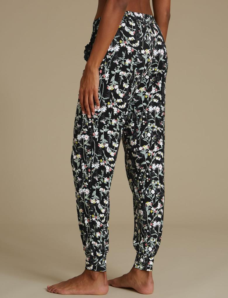 Siyah Çiçek Desenli Pijama Altı