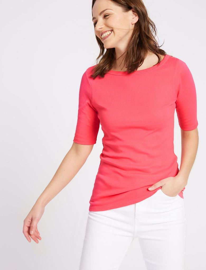 Pembe Saf Pamuklu Yuvarlak Yaka Yarım Kollu T-Shirt