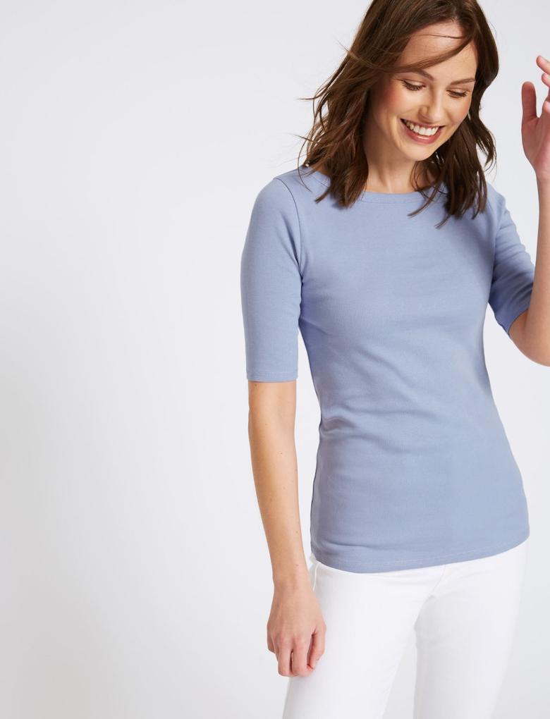 Mavi Saf Pamuklu Yuvarlak Yaka Yarım Kollu T-Shirt