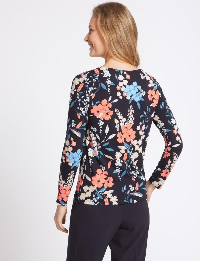 Çiçek Desenli Uzun Kollu Yuvarlak Yaka T-Shirt