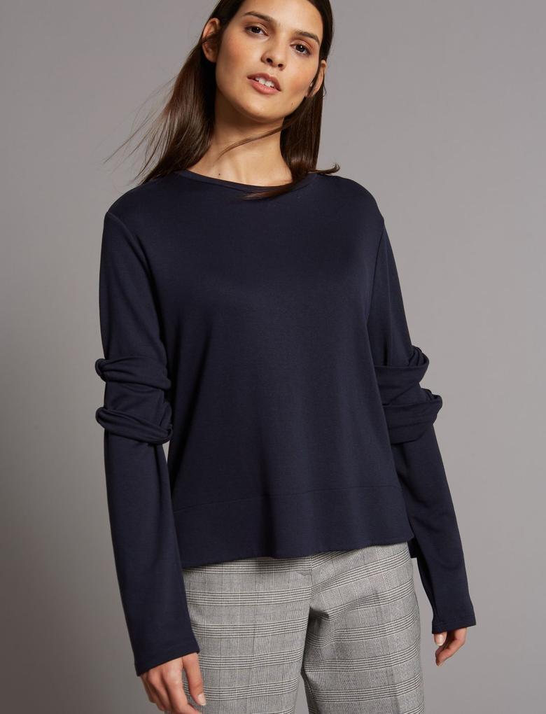 Lacivert Yuvarlak Yaka T-Shirt