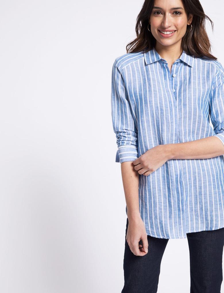 Çizgili Uzun Kollu Keten Gömlek