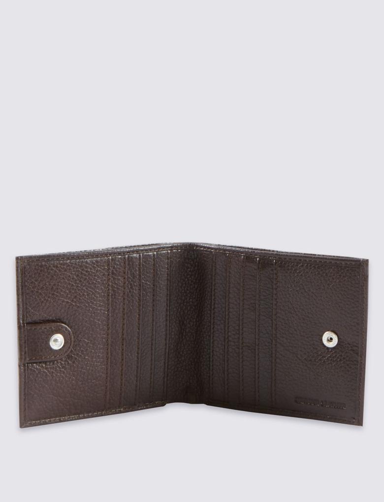Kahverengi Çift Bölmeli Deri Cüzdan (Cardsafe™ Teknolojisi ile)
