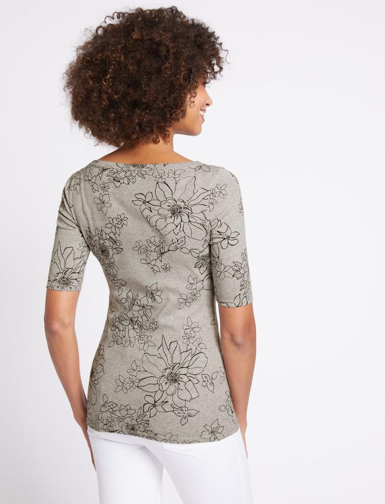 Saf Pamuklu Çiçek Desenli T-Shirt