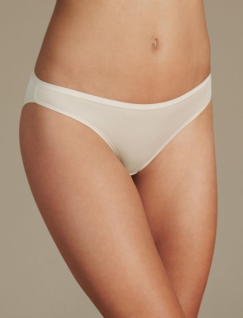 Kadın Bej 5'li İz Bırakmayan Düşük Belli Bikini Külot