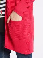 Kırmızı Önü Açık Uzun Kollu Hırka