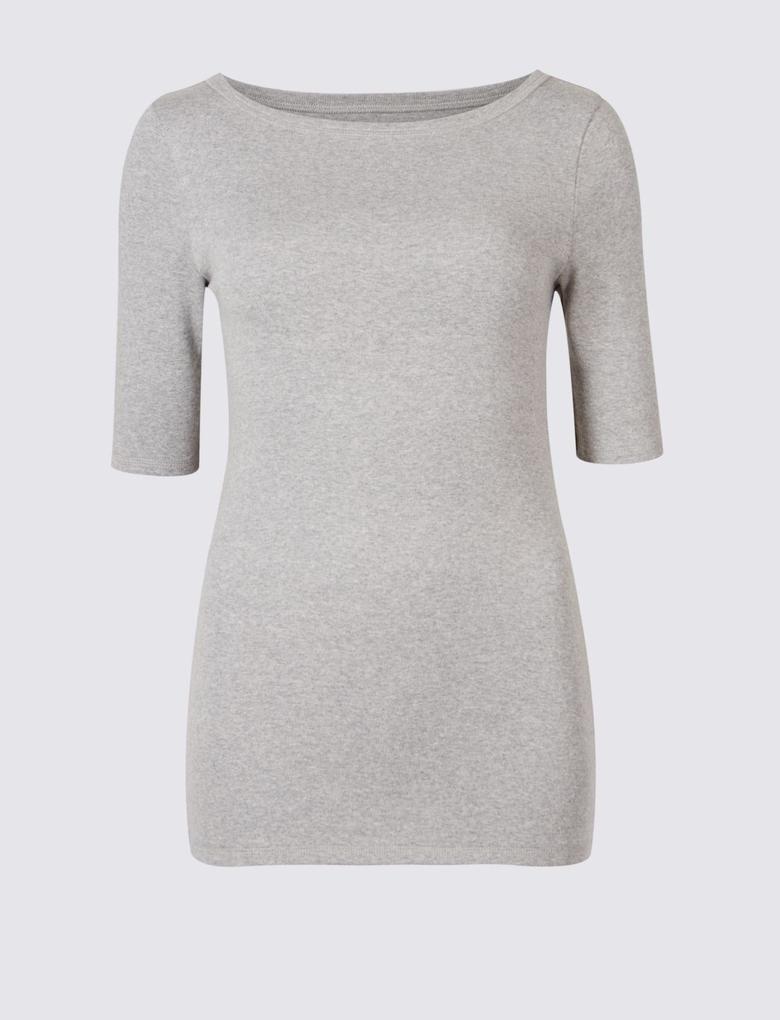 Kadın Gri Saf Pamuklu Yarım Kollu Yuvarlak Yaka T-Shirt