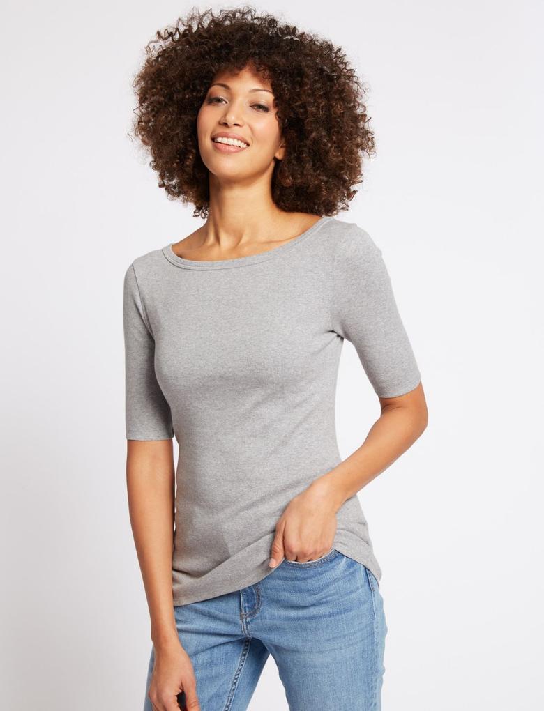 Saf Pamuklu Yarım Kollu Yuvarlak Yaka T-Shirt