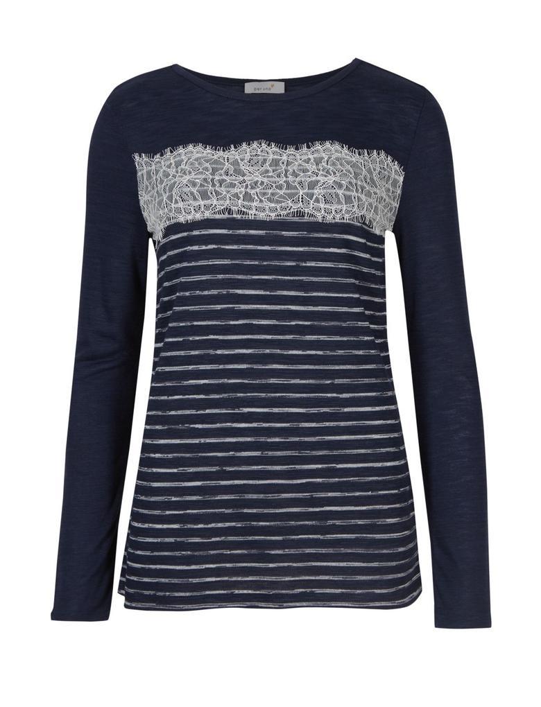Kadın Lacivert Uzun Kollu Çizgili T-Shirt