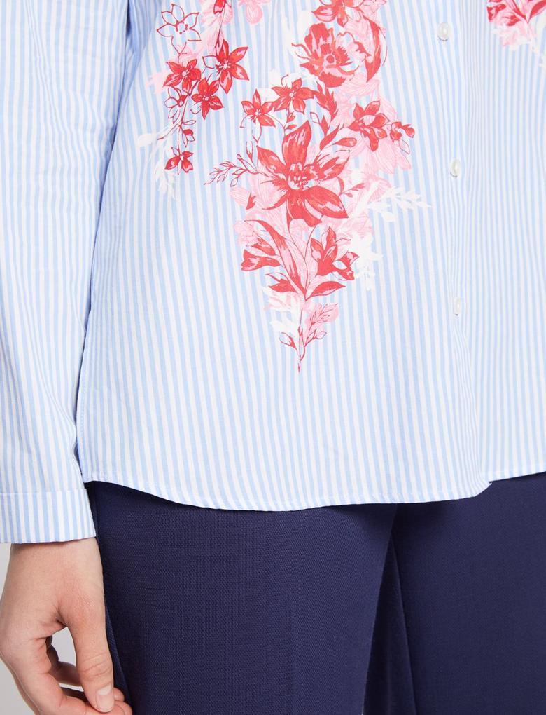 Saf Pamuklu Çiçek Desenli Uzun Kollu Gömlek