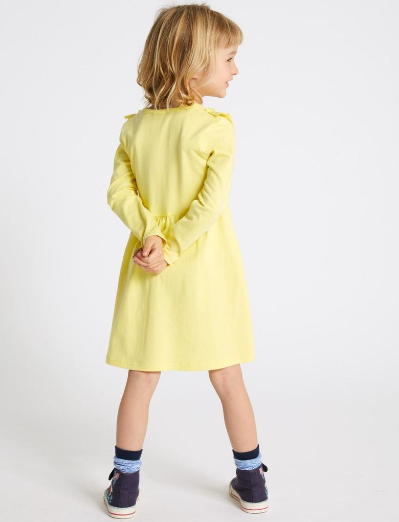 Saf Pamuklu Fırfır Detaylı Elbise (3 Ay - 7 Yaş)