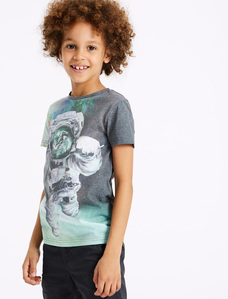 Pamuklu Desenli T-Shirt (3 - 16 Yaş)