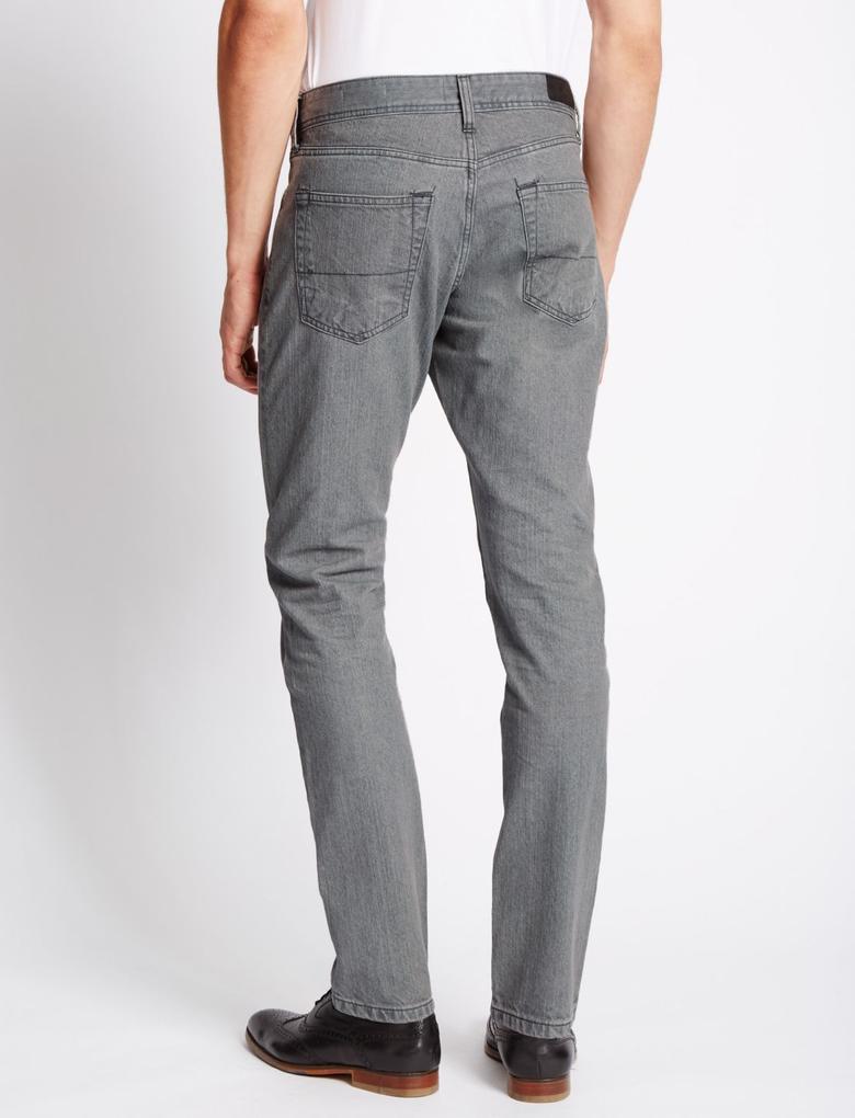 Gri Streç Slim Jean Pantolon