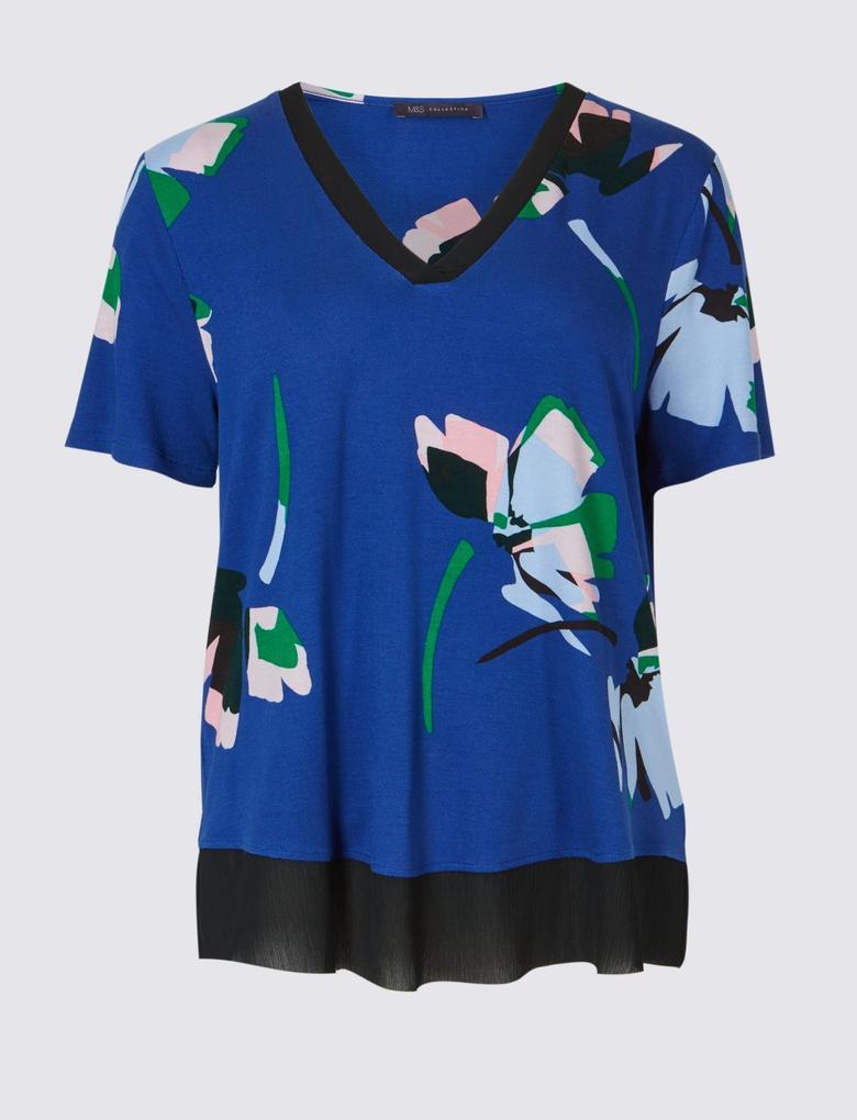 Lacivert Çiçek Desenli Kısa Kollu V Yaka T-Shirt