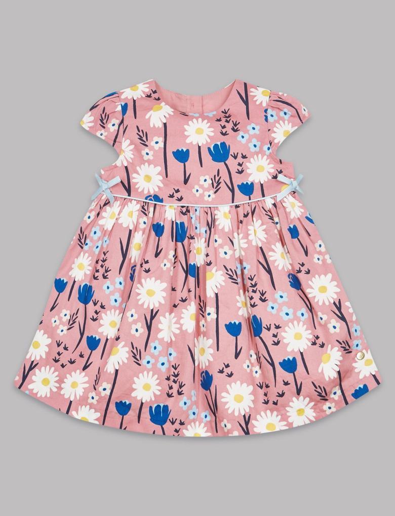 Turuncu Saf Pamuklu Çiçek Desenli Elbise