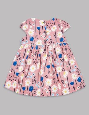 Bebek Turuncu Saf Pamuklu Çiçek Desenli Elbise