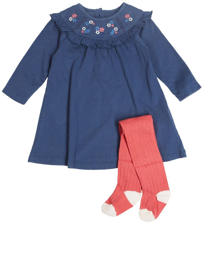 2 Parça işlemeli Elbise ve Külotlu Çorap Takımı