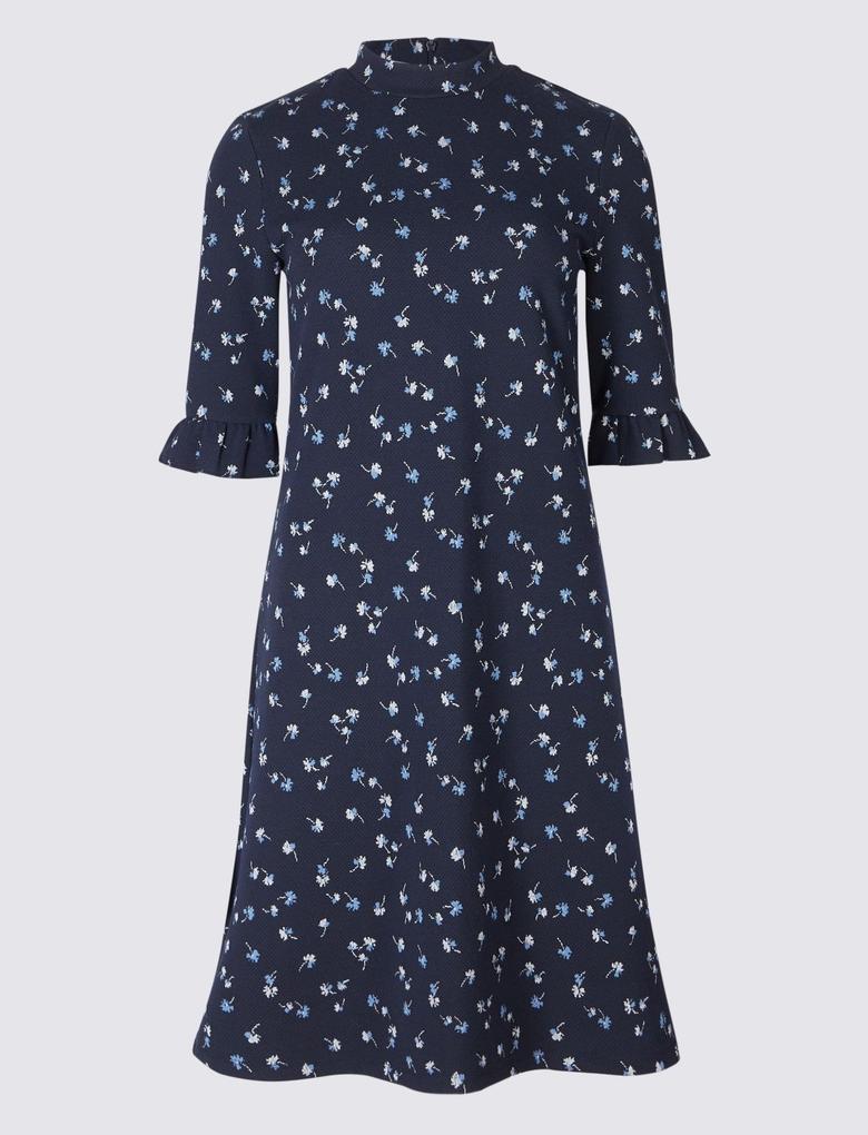 Lacivert Çiçek Desenli Tunik Elbise