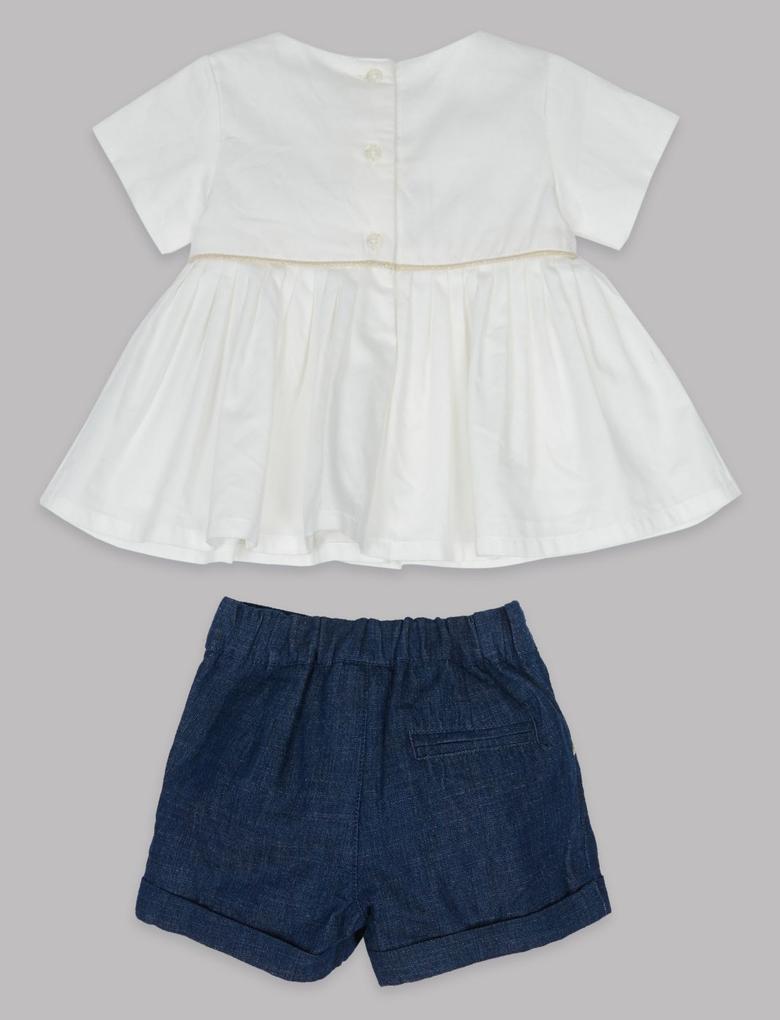 3 Parça Elbise, Şort ve Külotlu Çorap Takımı