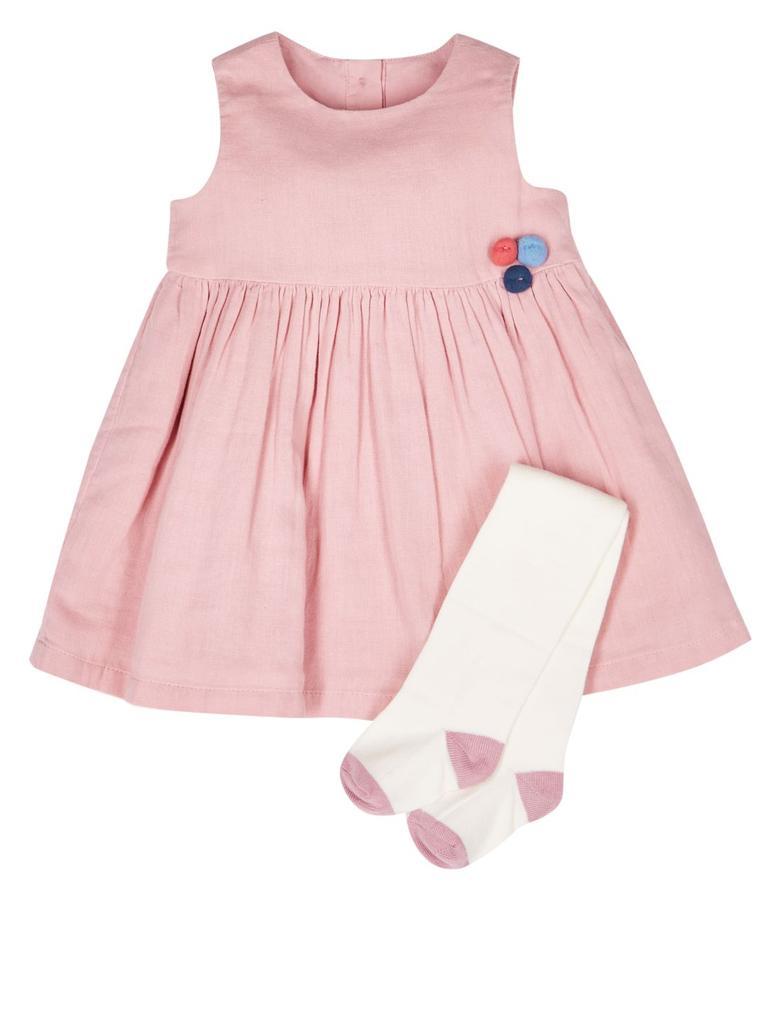 2 Parça Pamuklu Ponponlu Elbise ve Külotlu Çorap Takımı