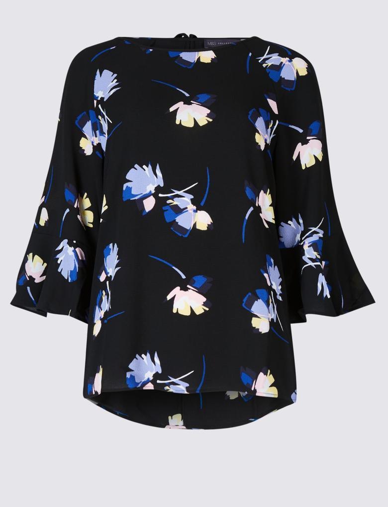 Kadın Siyah Çiçek Desenli Kimono Kollu Bluz