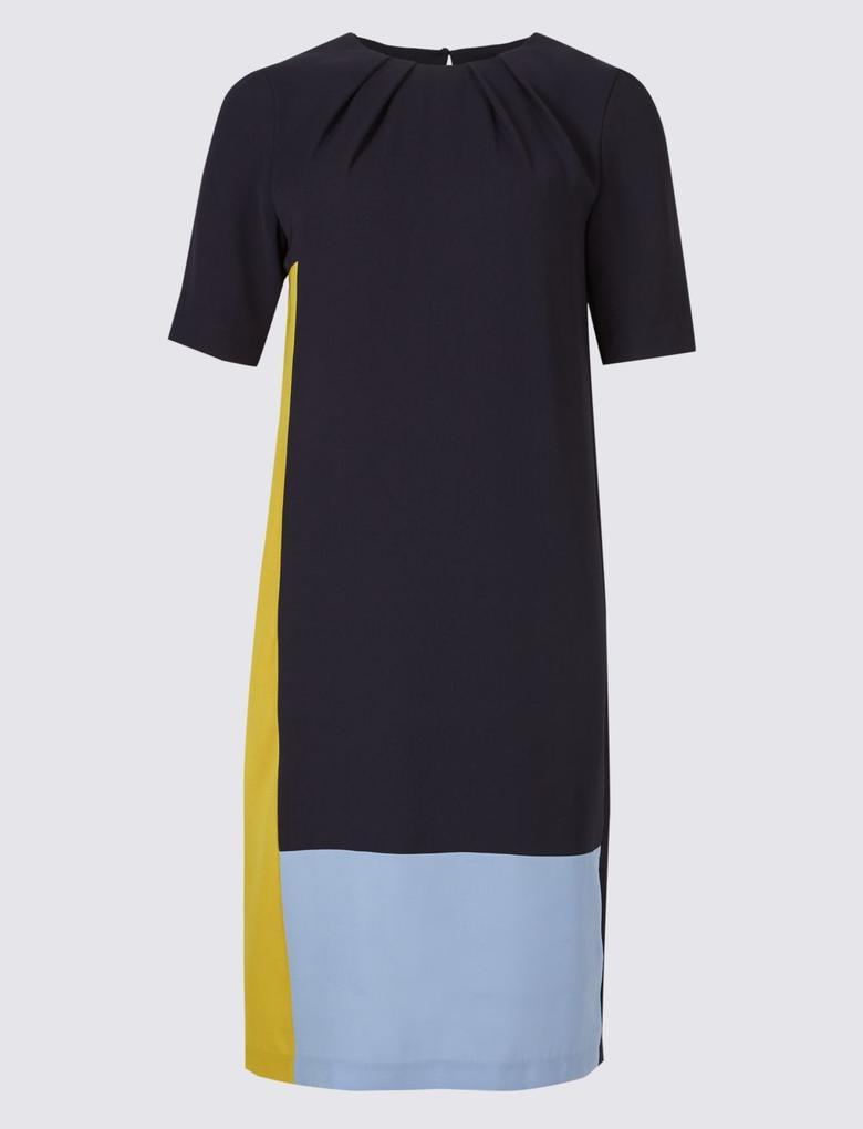 Lacivert Desenli Yarım Kollu Elbise