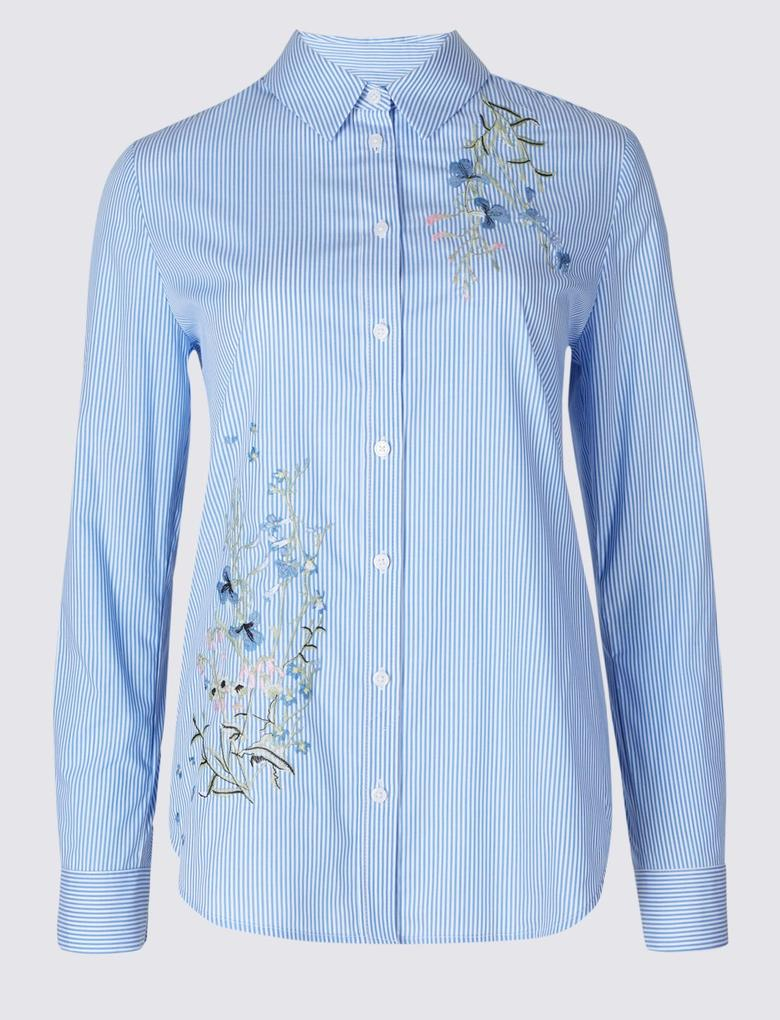 Mavi Pamuklu Desenli İşlemeli Gömlek