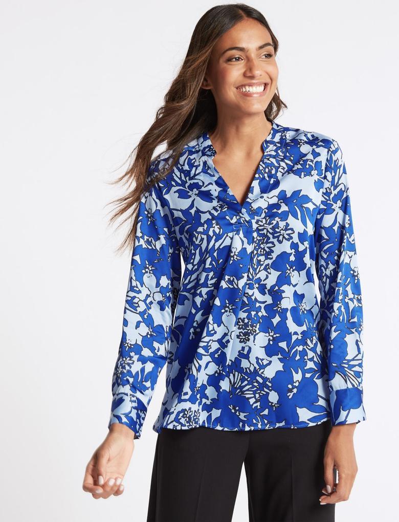Mavi Çiçek Desenli Uzun Kollu Bluz