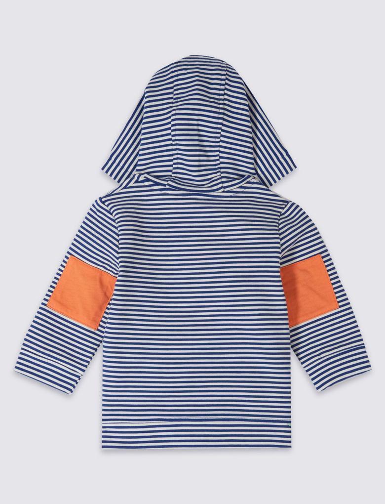 Pamuklu Streç Desenli Sweatshirt