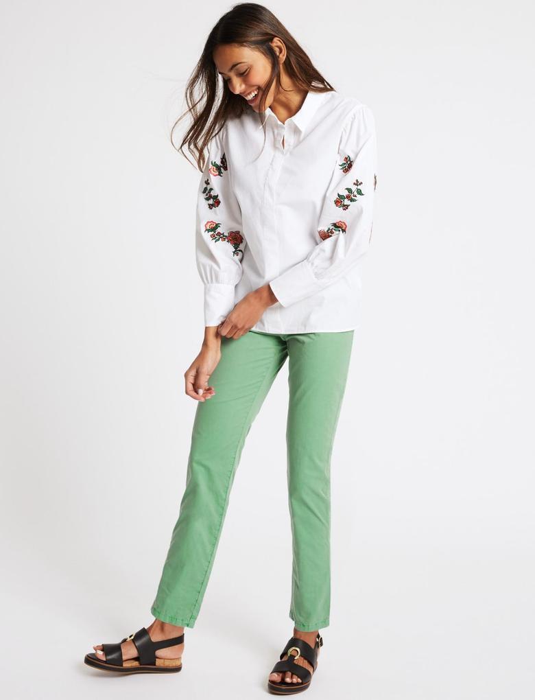 Yeşil Saf Pamuklu Chino Pantolon