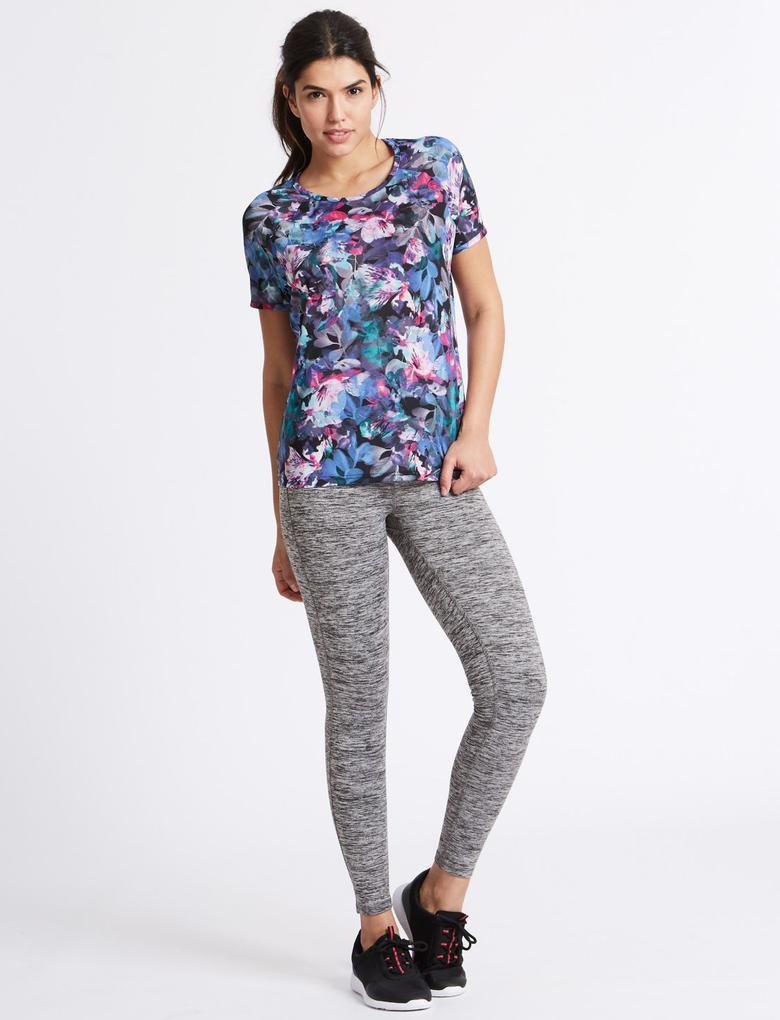 Çiçek Desenli Çapraz Arkalı T-Shirt
