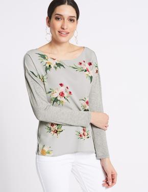 Gri Çiçek Desenli Uzun Kollu T-Shirt
