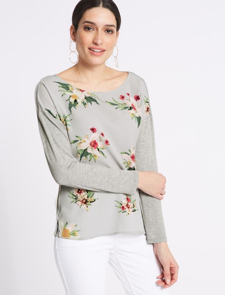 Çiçek Desenli Uzun Kollu T-Shirt