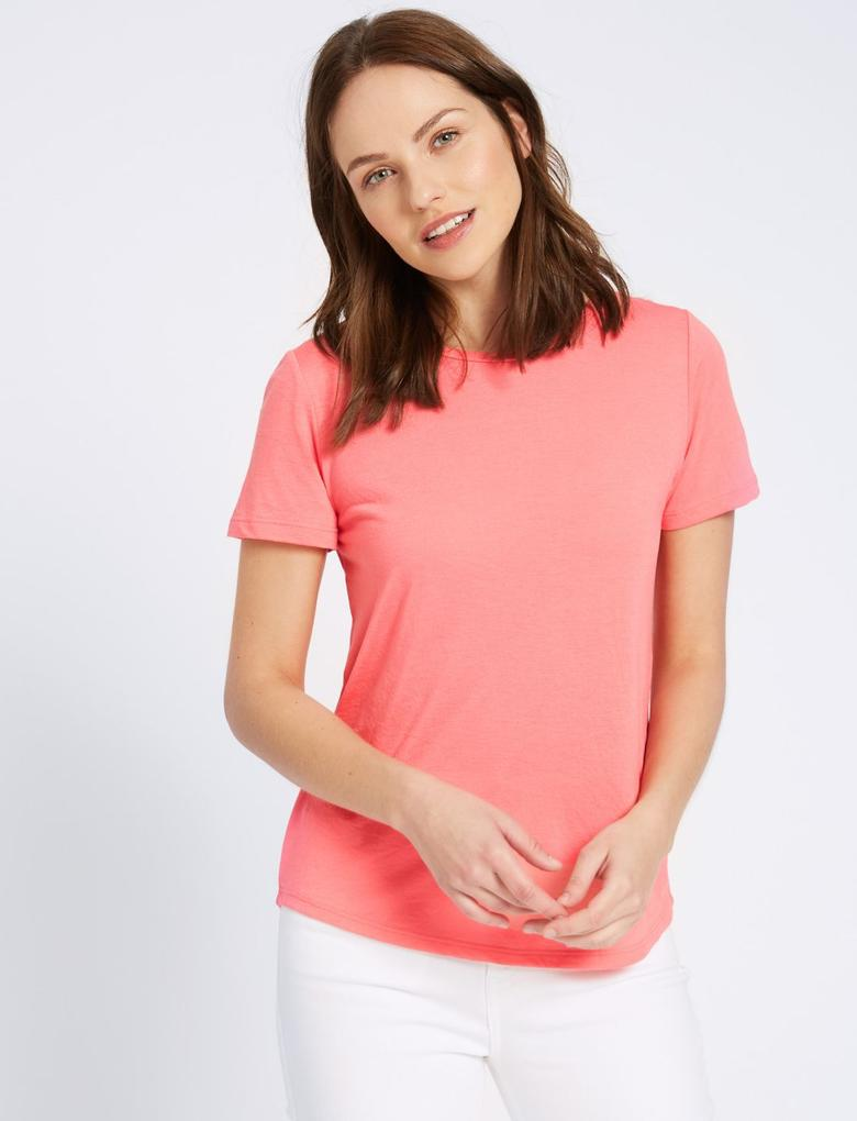Kırmızı Kısa Kollu Yuvarlak Yaka T-Shirt
