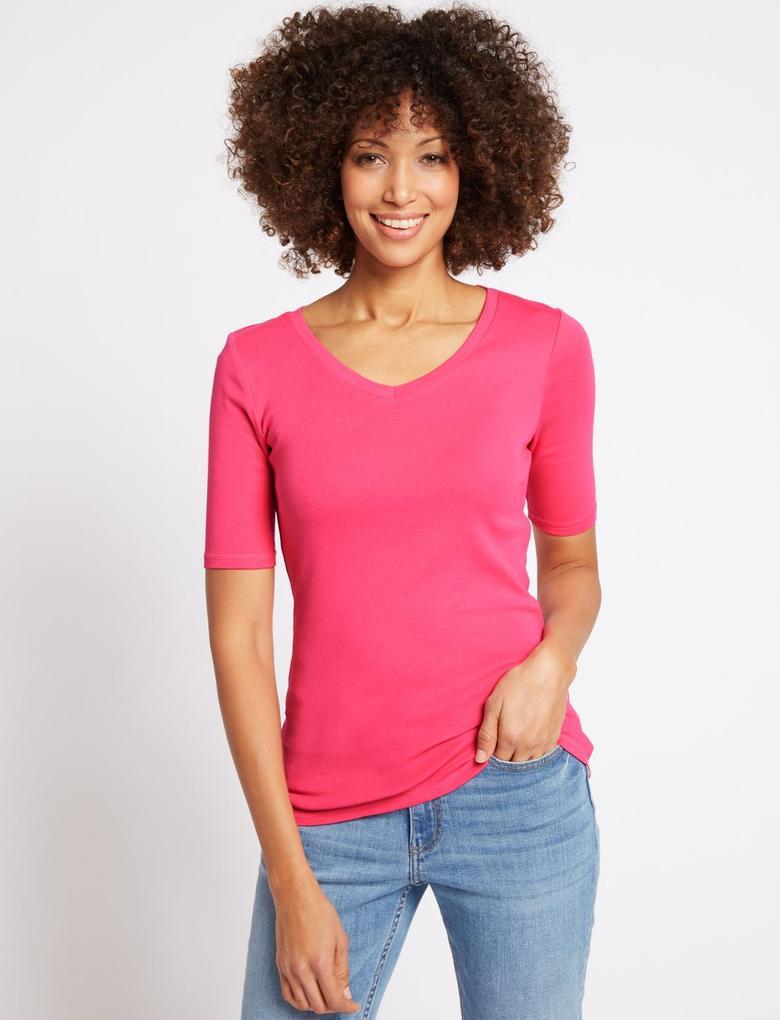 Pembe Saf Pamuklu V Yaka Yarım Kollu T-Shirt