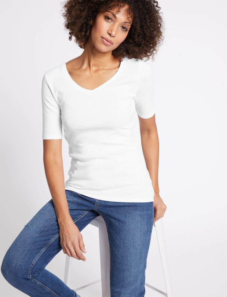 Beyaz Saf Pamuklu V Yaka Yarım Kollu T-Shirt