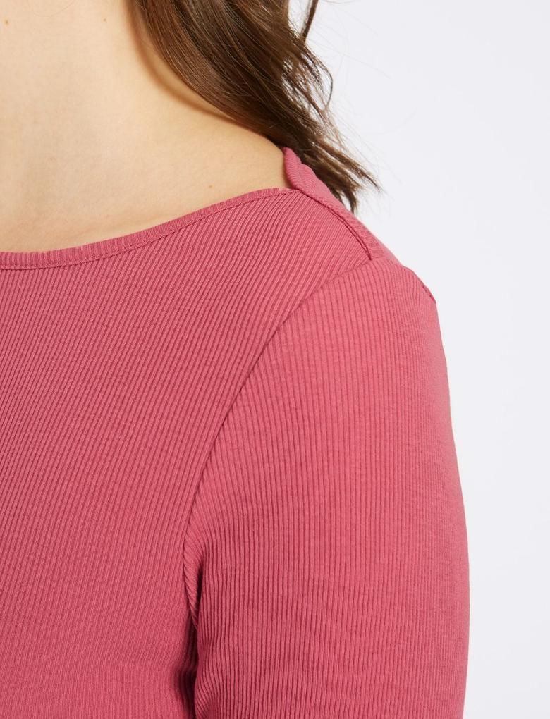 Mor Pamuklu Uzun Kollu T-Shirt