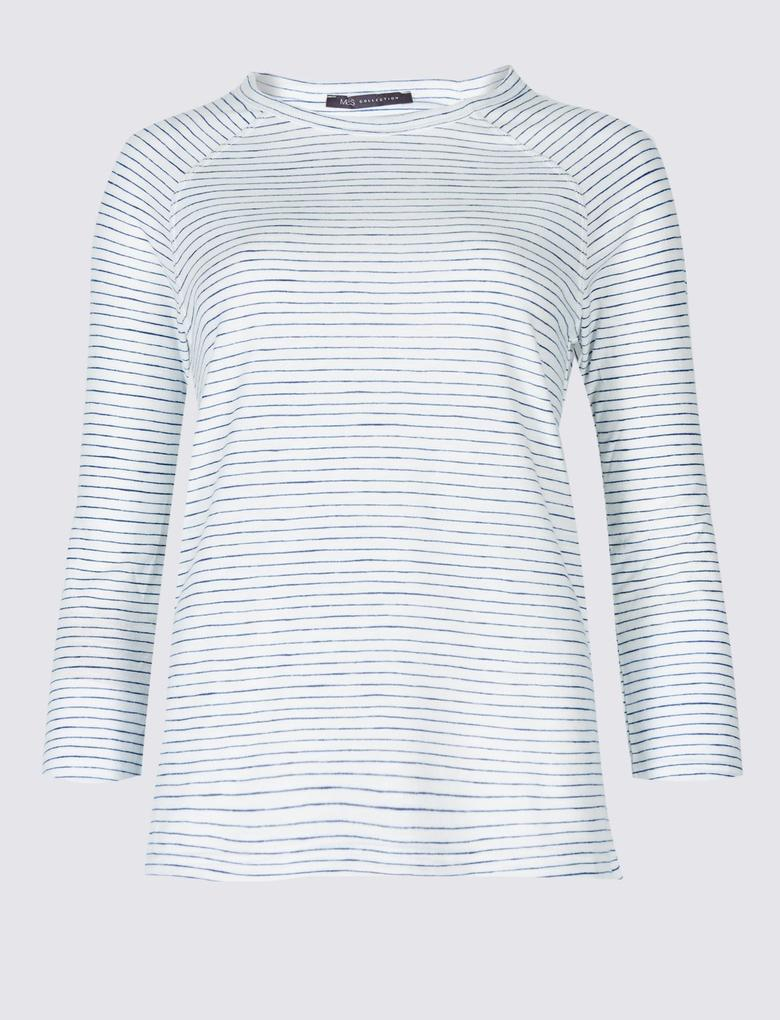 Beyaz Çizgili Yuvarlak Yaka Reglan Kollu T-Shirt
