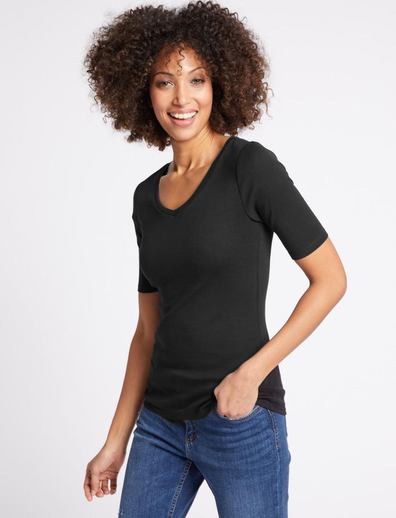 Saf Pamuklu V Yaka Yarım Kollu T-Shirt
