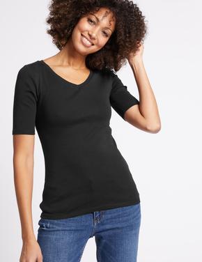 Siyah Saf Pamuklu V Yaka Yarım Kollu T-Shirt