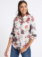 Saf Modal Kumaşlı Çiçek Desenli Uzun Kollu Gömlek