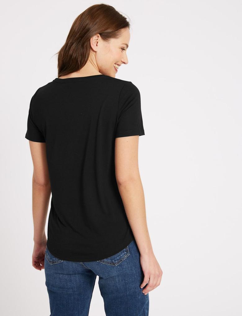 Siyah Kısa Kollu Yuvarlak Yaka T-Shirt