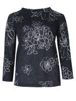 Çiçek Desenli 3/4 Kollu Reglan Kollu T-Shirt